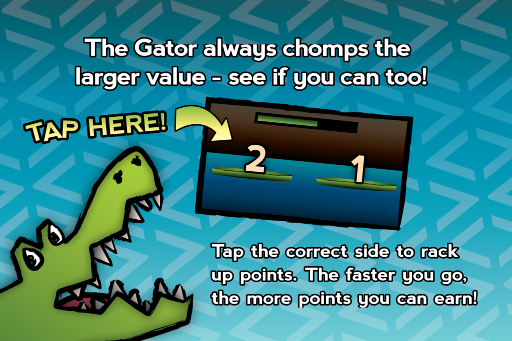Gator Chomp tutorial screen